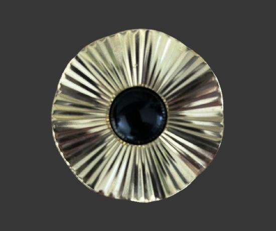 Black onyx silver tone scarf clip
