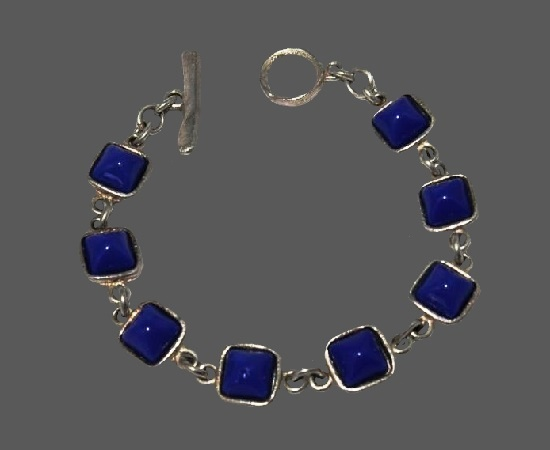 Blue glass cabochons silver plated bracelet