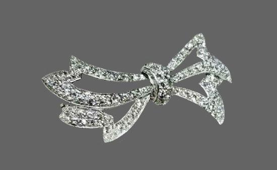 Bow Sterling silver rhinestone brooch pin