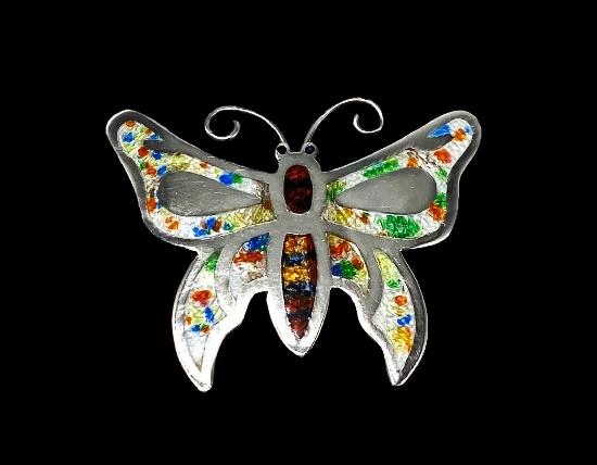 Butterfly brooch. 925 silver, mother-of-pearl enamel. 4.3 cm. 1960s