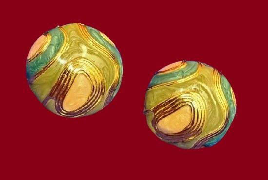 Button style gold tone enameled pierced earrings. 1980s