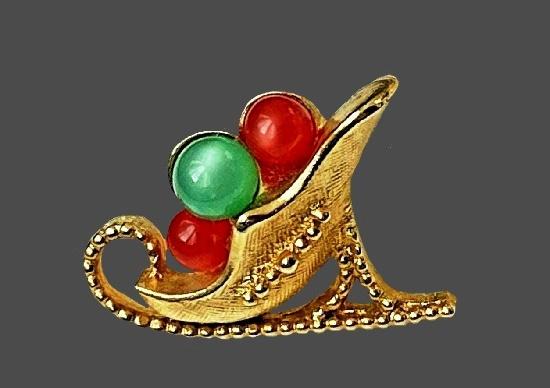 Christmas gold tone art glass lapel pin. 2.3 cm