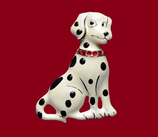 Dalmatian puppy brooch pin. Black and white enamel, aluminium, rhinestones