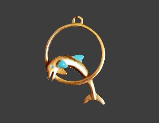 Dolphin jumping through hoop pendant. Gold filled alloy, enamel