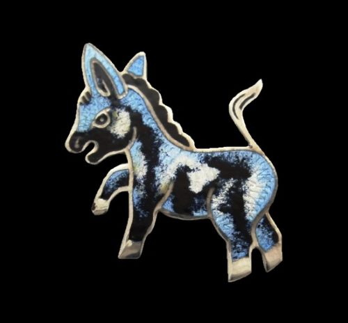 Donkey sterling silver enamel brooch