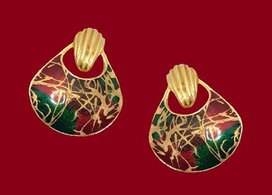 Doorknocker design pierced earrings. Gold tone alloy, enamel. 1980s