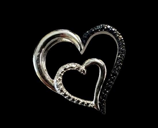 Double heart openwork sterling silver diamond pendant
