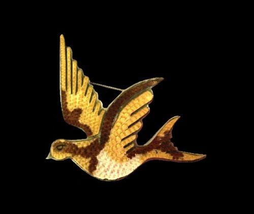 Dove bird sterling silver enamel brooch