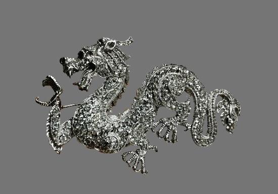 Dragon brooch. Sterling silver, Swarovski crystals. 6.8 cm. 1980s