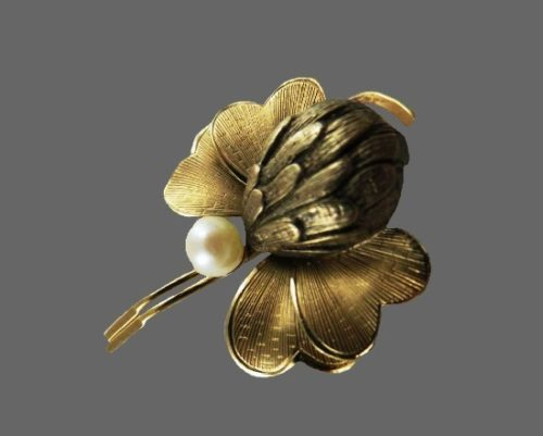 Exotic flower brooch pin. 12 K gold filled, faux pearl