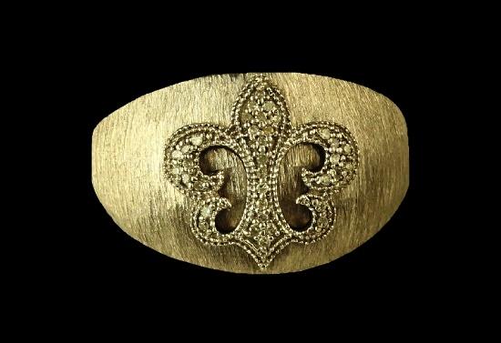 Fleur de Lis sterling silver diamond ring