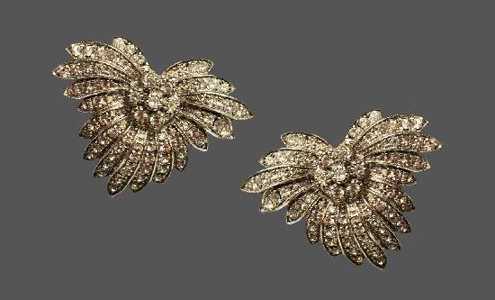 Floral design Art Deco clip on earrings. Sterling silver, Swarovski crystals. 1980s