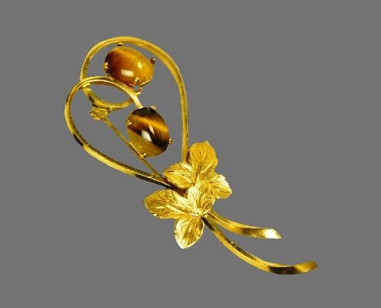 Floral design brooch pin. 925 sterling silver, 14 K gold filled, tiger's eye cabochon