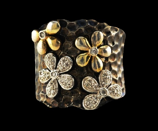 Floral design sterling silver gold diamond ring