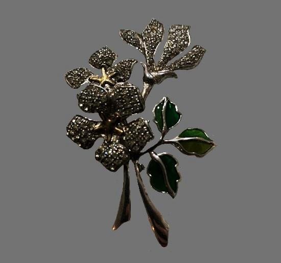 Flower bouquet sterling silver enamel vintage brooch