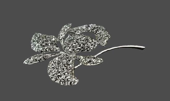 Flower design sterling silver rhinestone brooch pin