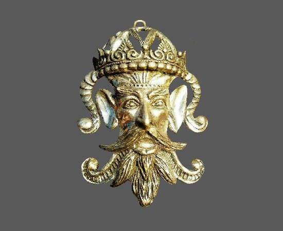 Folk character jester silver tone pendant