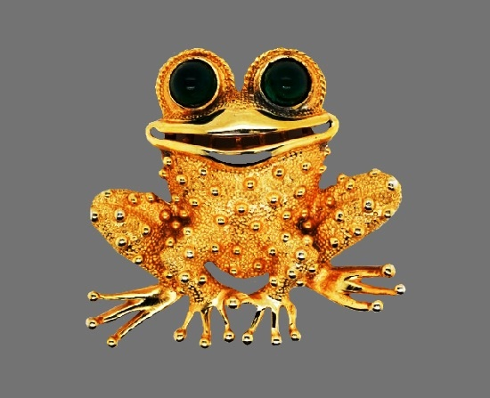 Funny frog gold plated brooch