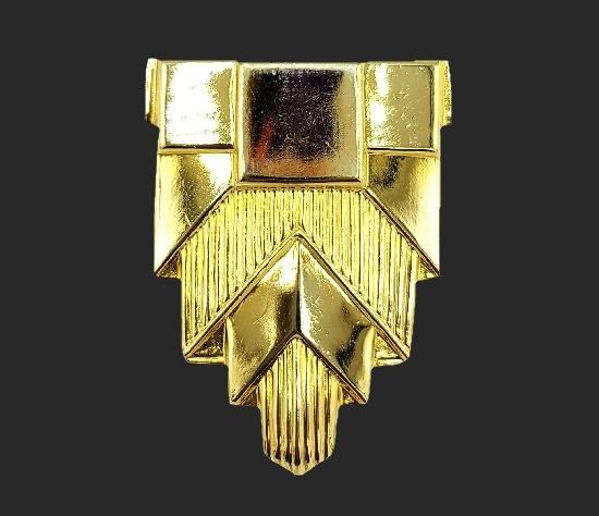 Geometric design gold tone scarf clip