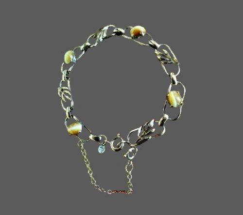 Gold vermeil tiger's eye bracelet. 1940s