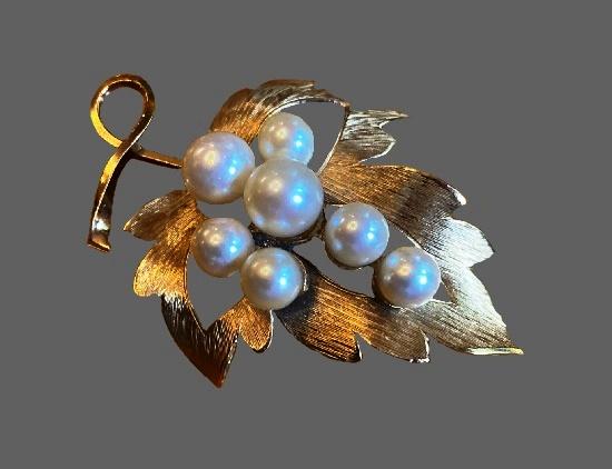 Grape leaf brooch pin. Sterling silver, 14k gold filled, cultured pearl