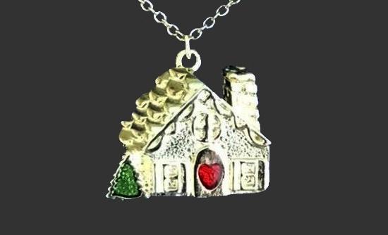 House pendant. Silver tone metal, enamel, art glass