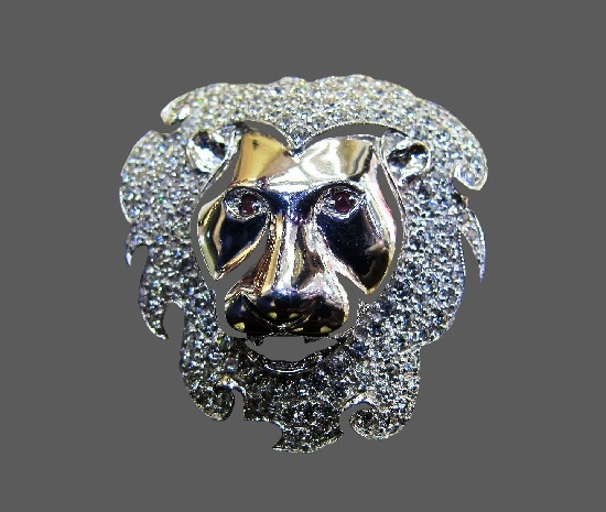 Lion head vintage brooch. Sterling silver, gold plated. 1990s
