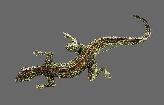 Lizard brooch. Sterling silver, cubic zirconia. 10.6 cm