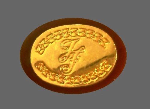 Logo design gold tone ring