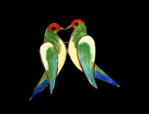 Love Birds sterling silver enamel brooch