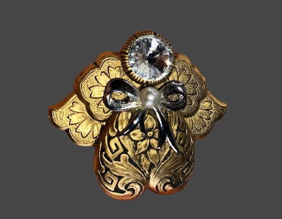 Matte gold and silver tone textured alloy, rhinestone Angel brooch pin