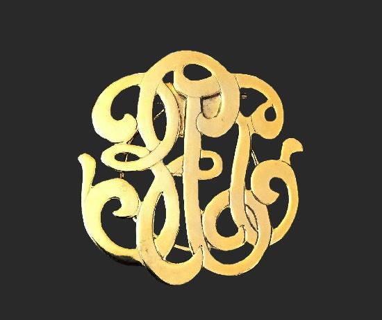Monogram gold tone scarf pin