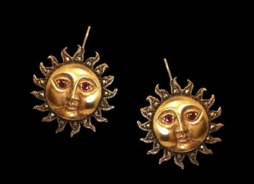 Moon earrings. Sterling silver, vermeil, marcasite