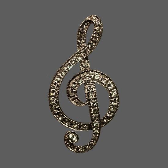 Music clef sterling silver brooch
