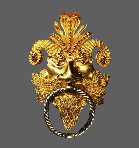 Mythological goat man pendant. Gold plated. 1970s