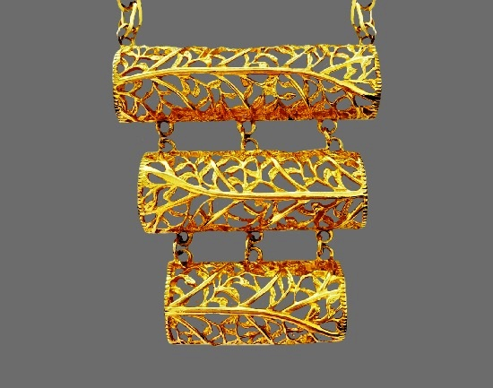 Openwork gold plated dangling necklace. 1960s