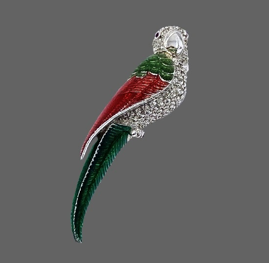 Parrot brooch. Sterling silver, enamel, rhinestones