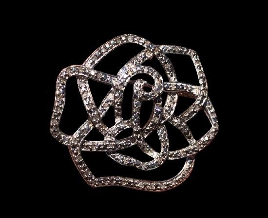 Rose flower pendant. Sterling silver, diamonds