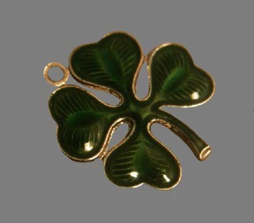 Shamrock clover sterling silver guilloche enamel brooch pin