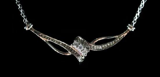 Sterling silver diamond vintage necklace