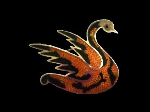 Swan sterling silver enamel brooch