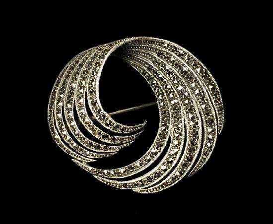 Swirl design sterling silver marcasite brooch