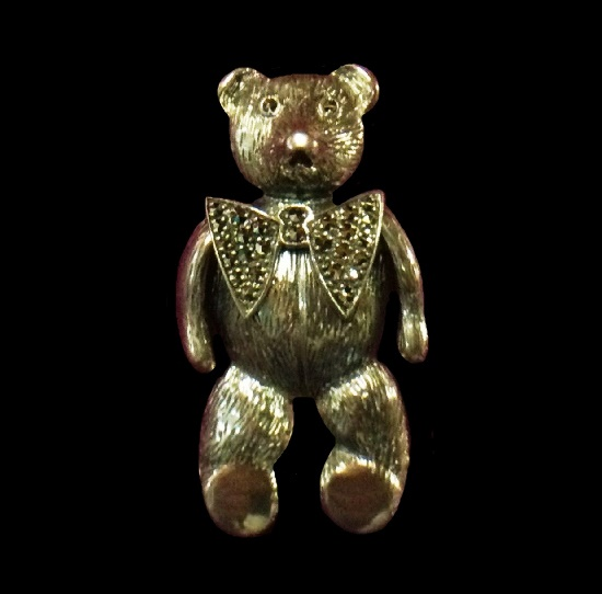 Teddy Bear with a bow sterling silver marcasite pin