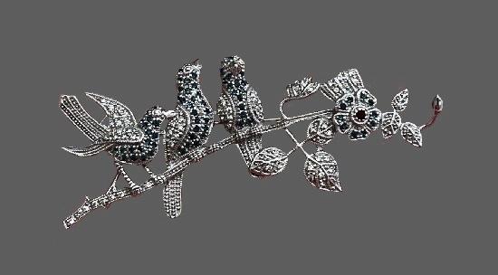 Sterling silver rhinestone brooch pin