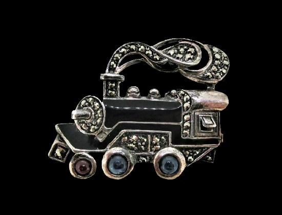 Train pin. Marcasite, enamel, red cabochon