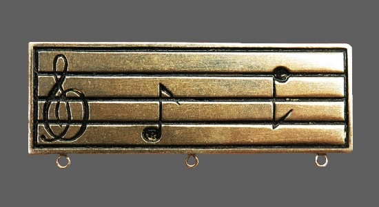 Treble Clef and music notes rectangular shaped brooch pin. Sterling silver