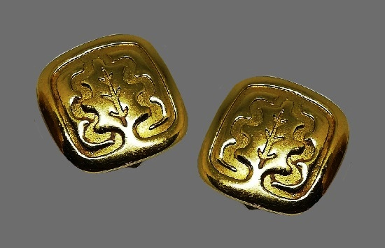 Tree design square shaped gold tone clip on earrings