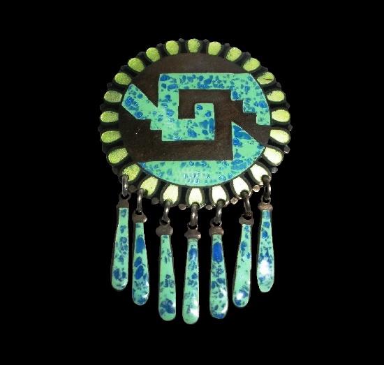 Tribal motif sterling silver enamel pendant brooch
