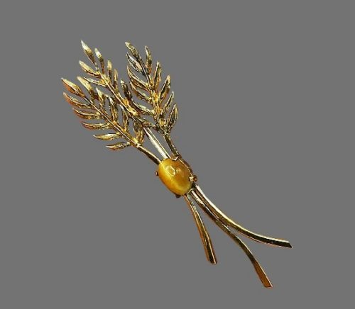 Wheat design brooch pin. 925 sterling silver, tiger's eye cabochon