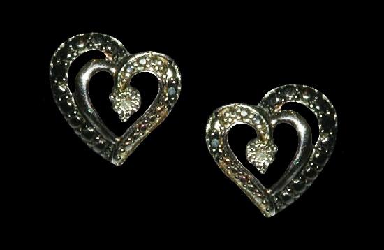 White diamond heart design sterling silver earrings